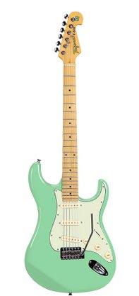 Guitarra Tagima Brasil T-635 Verde Pastel Strato