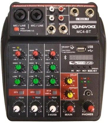 Mesa De Som Soundvoice Interface MC 4 bt Bluetooth Analógica
