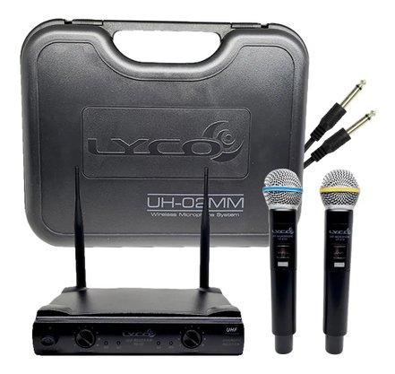 Microfone Duplo De Mao Sem Fio Lyco Uh02mm