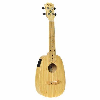 Ukulele Concert Seizi Bali Pineapple Elétrico Solid Bamboo